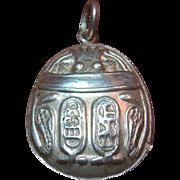Large Art Deco Egyptian Silver SCARAB Beetle Pendant