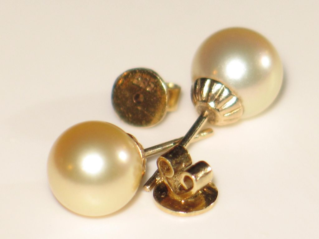 estate golden south sea cultured pearl earrings and 14k