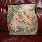 SOLD VINTAGE JR of Florida French petit point tapestry  style purse handbag bag