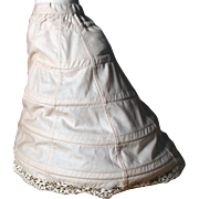 Muslin Wire Hoop Skirt with Train for French Fashion Doll