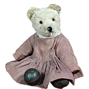 1920's Mohair Bear in Antique Dress ~ Adorable!