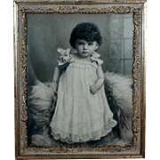 Large Victorian Framed BW Photo Little Girl w Presence