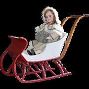 Antique Victorian Child's Push Sleigh ~ Museum Deaccession