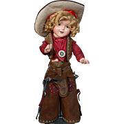 """Large 22"""" Shirley Temple as Texas Ranger Cowgirl"""