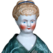 Antique Blond Lady China Doll w Uncommon Hairstyle and Blue Band