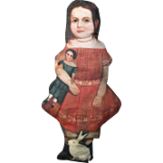 Folk Art Primitive Girl with Wooden Doll and Rabbit Cloth Ornament