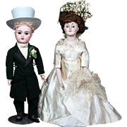 Halles Bros All-Original Bridal Bisque Dolls with Historical Significance, Original box