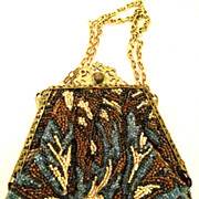SALE Ornate Framed Small Beaded Purse in Blues, Amber, Green and Beige