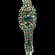 Vintage Kramer Emerald Green Rhinestone Bracelet