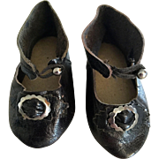 Black Leather Doll Shoes marked 3