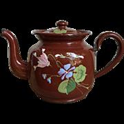 SOLD Charming Petite Antique French Enamelware Coffee Pot, Tea Kettle Handpainted Cyclamen Flo