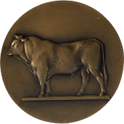 SALE PENDING Great Antique Solid Bronze Agricultural Art Medal Bull Cattle
