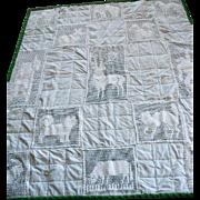 Vintage Crocheted  Crib Coverlet