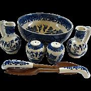 Vintage Blue & White Serving Pieces: Bowl/ S&P/Cruets/Servers