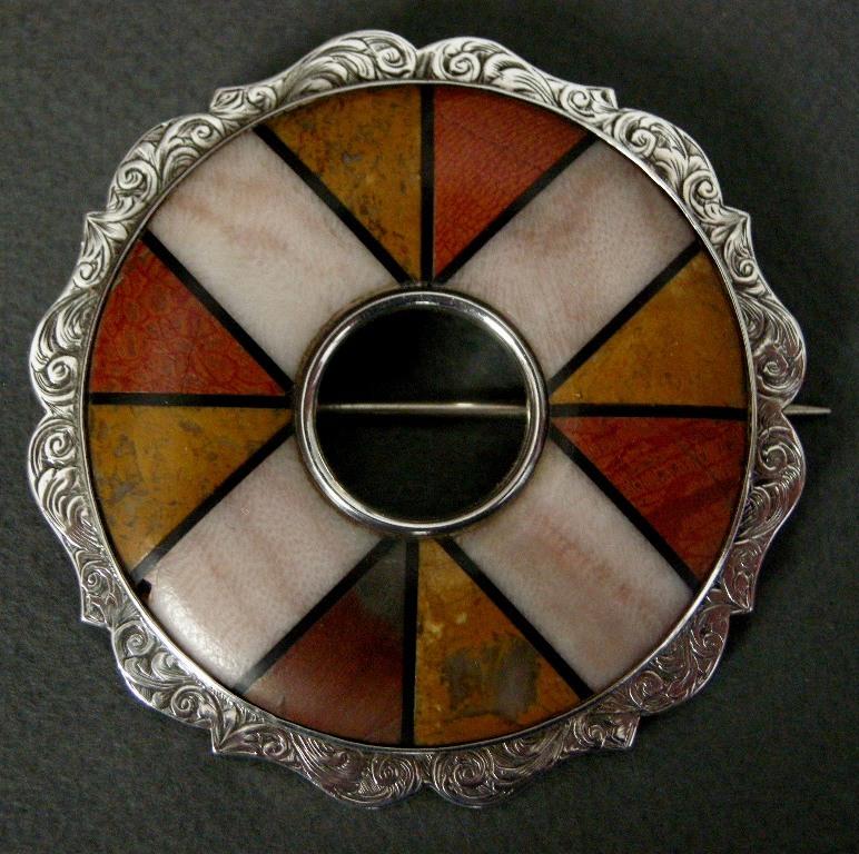 A Victorian Sterling Silver Pebble Brooch. Circa 1860.