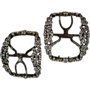 A Pair of Georgian Sterling Silver and Paste Shoe Buckles. Circa 1780.