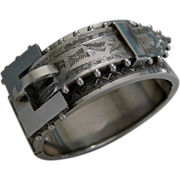 A Victorian Sterling Silver Hinged Buckle Bracelet. Circa 1880.