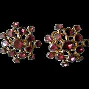 A Pair of Georgian Gilt-Metal and Garnet Earrings. Circa 1770.