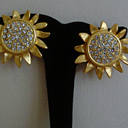 Matte Gold-Tone and Rhinestone Sunflower Earrings