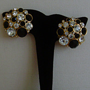 Clear and Black Rhinestone Clip-On Earrings