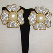 Gold-Tone and Rhinestone Petal Clip-On Earrings