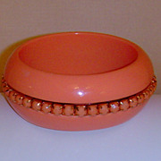Coral Colored Lucite Bangle Style Bracelet