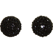 Black Rhinestone Crystal Round Shape Clip-On Earrings