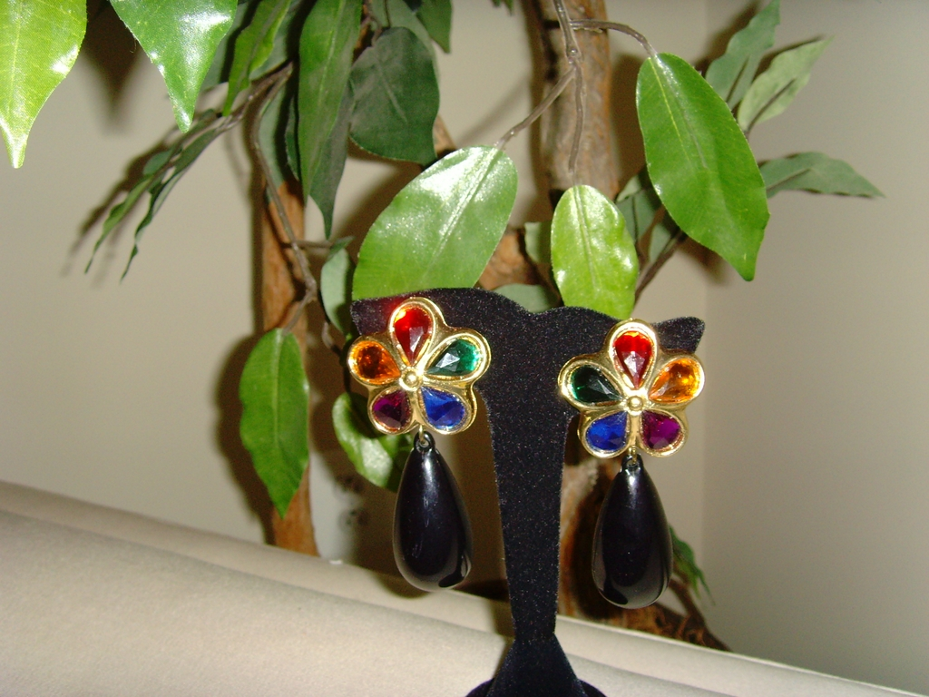 Multi-Colored Stone and Teardrop Earrings