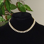 Gold-Toned and White Opaque Rhinestone Necklace