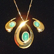 Gold-Toned and Green Cabochon Necklace and Earring Set