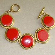 Red and Gold-Tone Enamel Chain Bracelet
