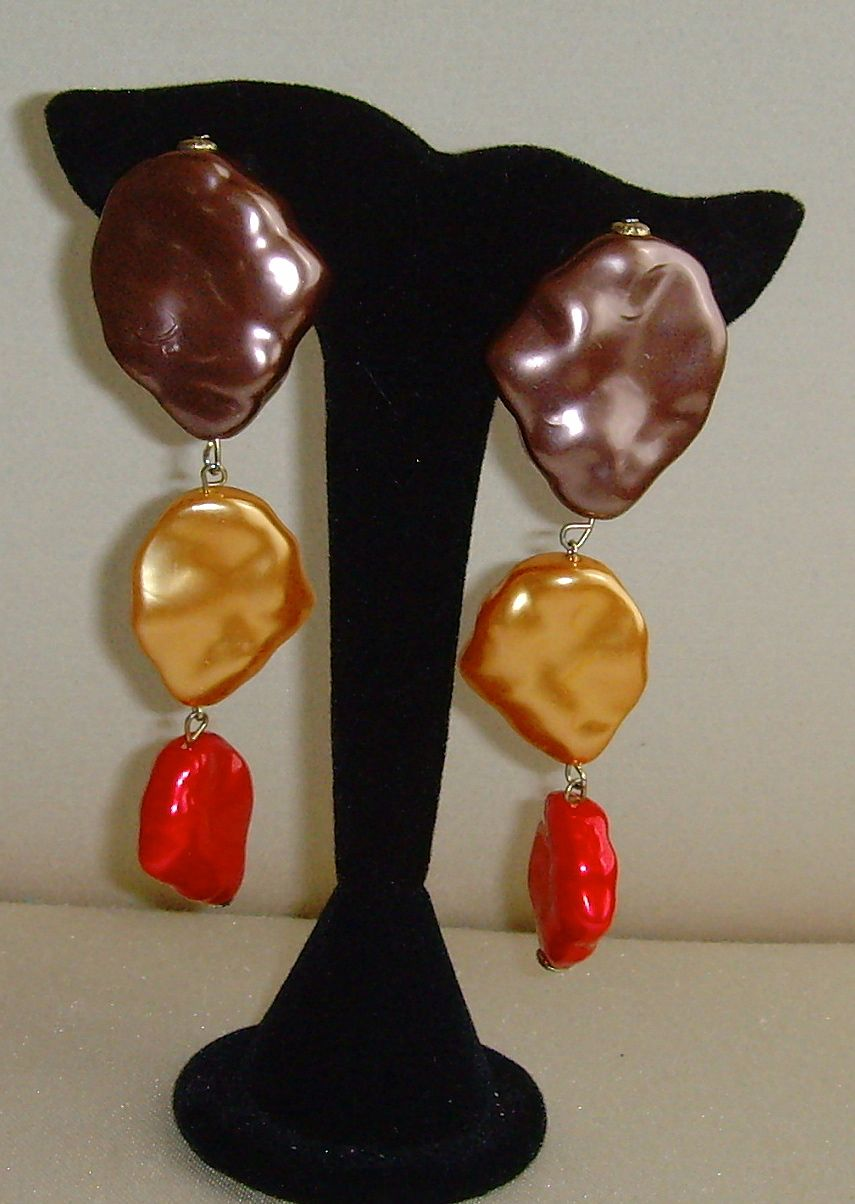 Tri-Colored Simulated Pearl Earrings