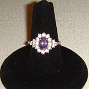 10 Karat Gold and Amethyst and CZ Ring