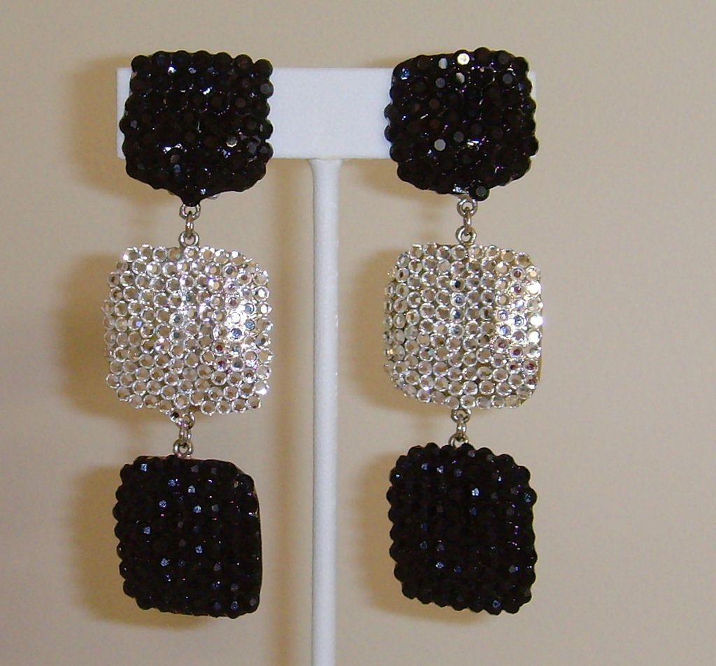 Black and White Crystal Rhinestone Dangle Earrings