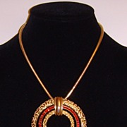 Castlecliffⓒ Gold-Tone and Rhinestone Pendant Necklace