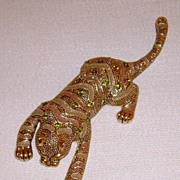 Gold-Tone and Rhinestone Tiger Brooch