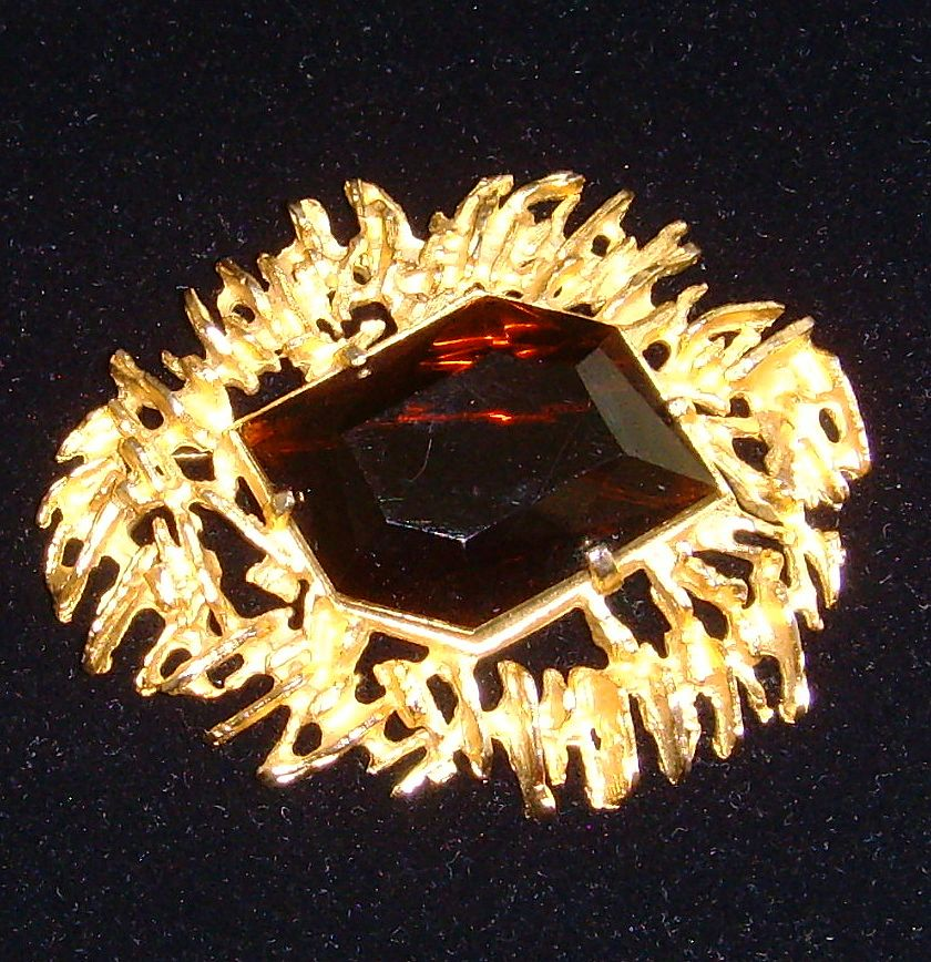 Castleclif Gold-Tone and Glass Brooch