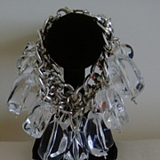 Clear Lucite and Silver-Tone Dangle Bracelet
