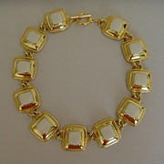 Gold-Tone and Enamel Square Disc Necklace