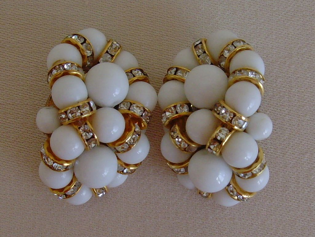 Lucite and Rhinestone Beaded Clip-On Earrings