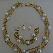 SOLD Gold-Tone and Simulated Pearl Necklace Set