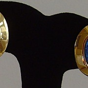 Gold-Tone and Montana Blue Glass Clip-On Earrings