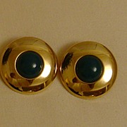 Gold-Tone and Lucite Cabochon Clip-On Earrings