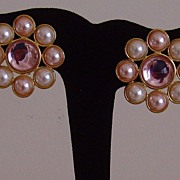 Monetⓒ Gold-Tone Lucite and Simulated Pearl Clip-On Earrings