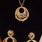 SALE PENDING Matte Gold-Tone Necklace and Earring Set
