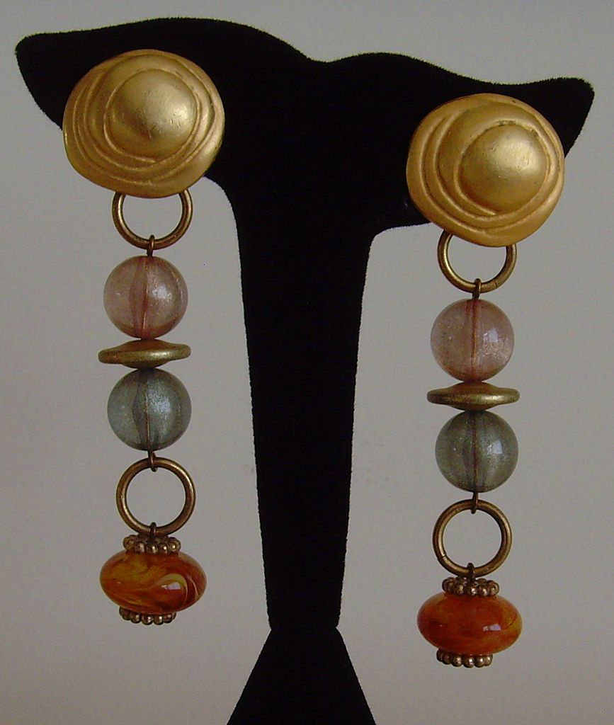 Matte Gold-Tone and Lucite Dangle Clip-On Earrings
