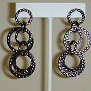 Gunmetal Toned Circle Pierced Earrings