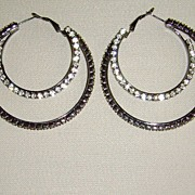 Gunmetal-Tone and Clear Rhinestone Double-Hoop Pierced Earrings