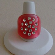 Pink Translucent Lucite and Rhinestone Ring