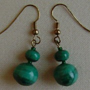 Malachite Dangle Pierced Earrings